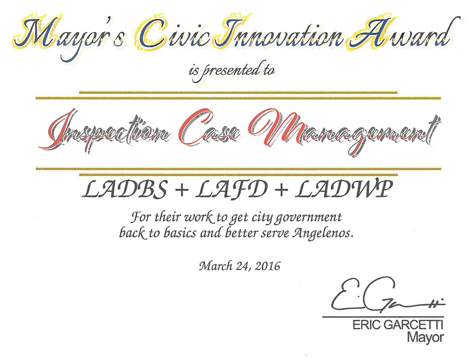 Mayor ICM Award Certificate